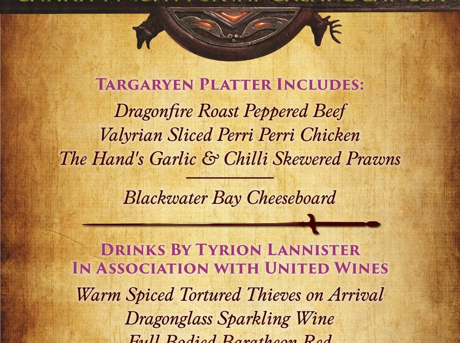 Games Of Thrones Tasting Menu